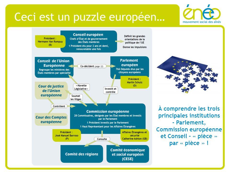 Ceci est un puzzle européen… À comprendre les trois principales institutions - Parlement, Commission européenne et Conseil - « pièce » par « pièce » !