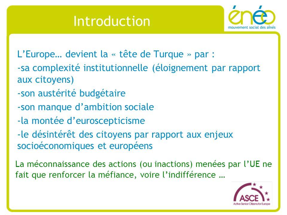 Importance des budgets et de la vision institutionnelle Vision institutionnelle de lUE basée sur la croissance et lemploi via la stratégie Europe 2020 : -La stratégie décennale (2010-2020) de croissance de lUE -Précédant la Stratégie de Lisbonne (2000-2010) -Les cinq principaux objectifs 1.