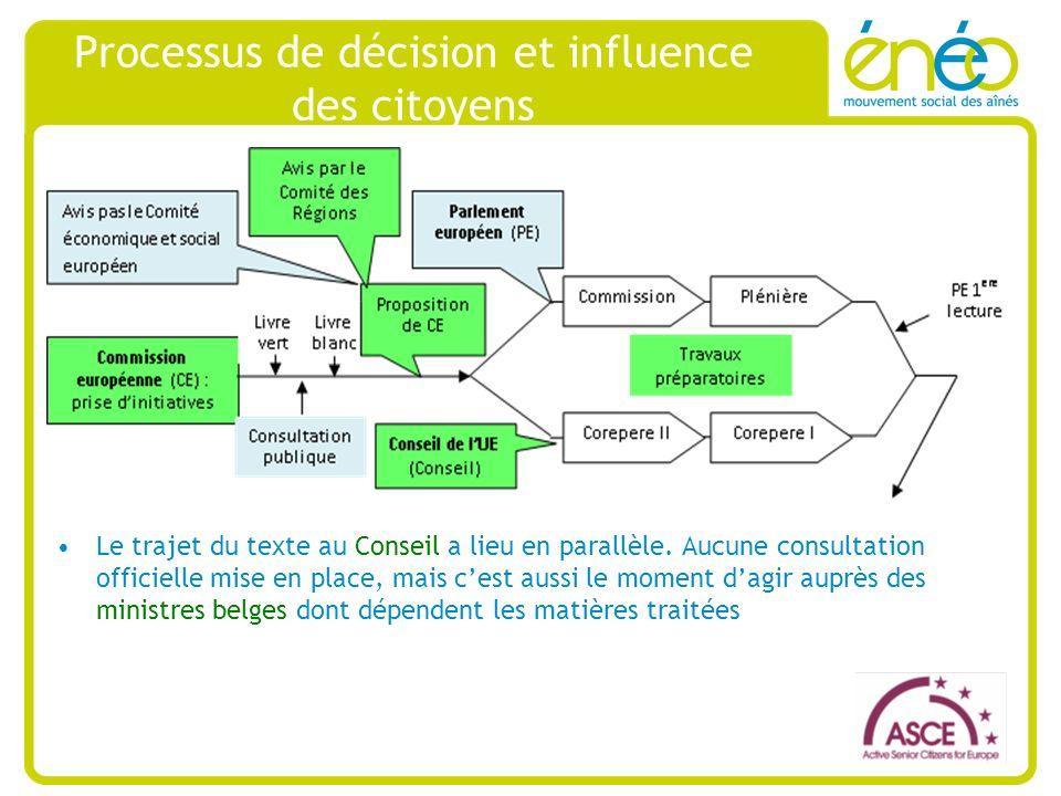 Processus de décision et influence des citoyens Le trajet du texte au Conseil a lieu en parallèle.