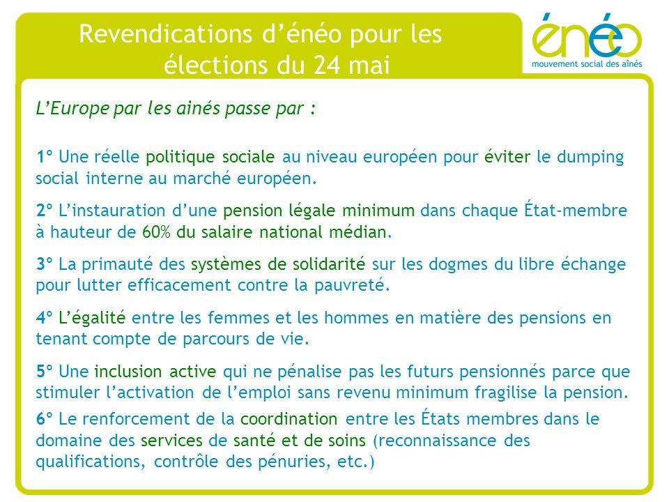 Revendications dénéo pour les élections du 24 mai LEurope par les ainés passe par : 1° Une réelle politique sociale au niveau européen pour éviter le dumping social interne au marché européen.