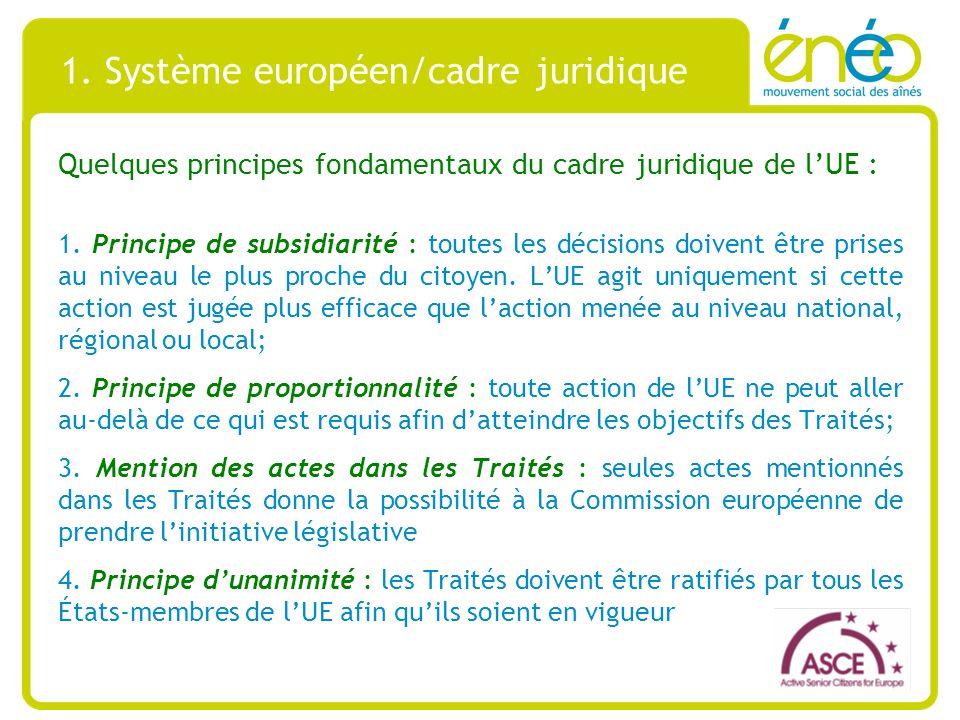 1. Système européen/cadre juridique Quelques principes fondamentaux du cadre juridique de lUE : 1.