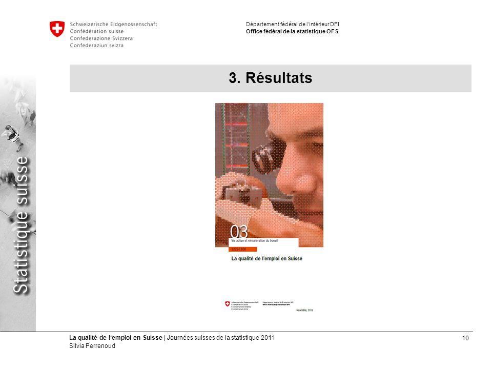 10 La qualité de lemploi en Suisse | Journées suisses de la statistique 2011 Silvia Perrenoud Département fédéral de lintérieur DFI Office fédéral de la statistique OFS 3.