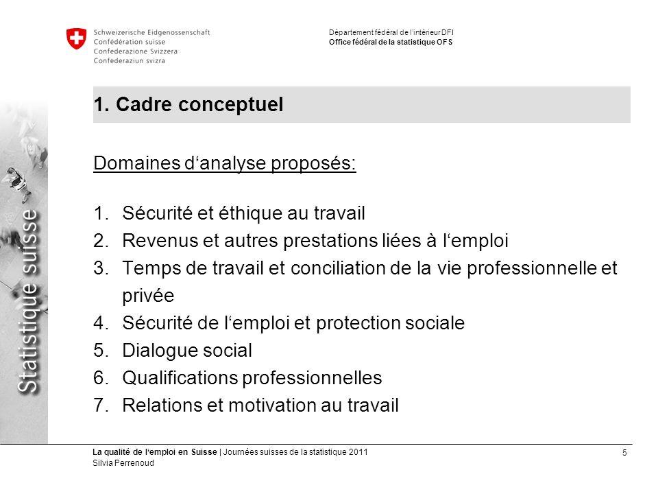 6 La qualité de lemploi en Suisse | Journées suisses de la statistique 2011 Silvia Perrenoud Département fédéral de lintérieur DFI Office fédéral de la statistique OFS 1.