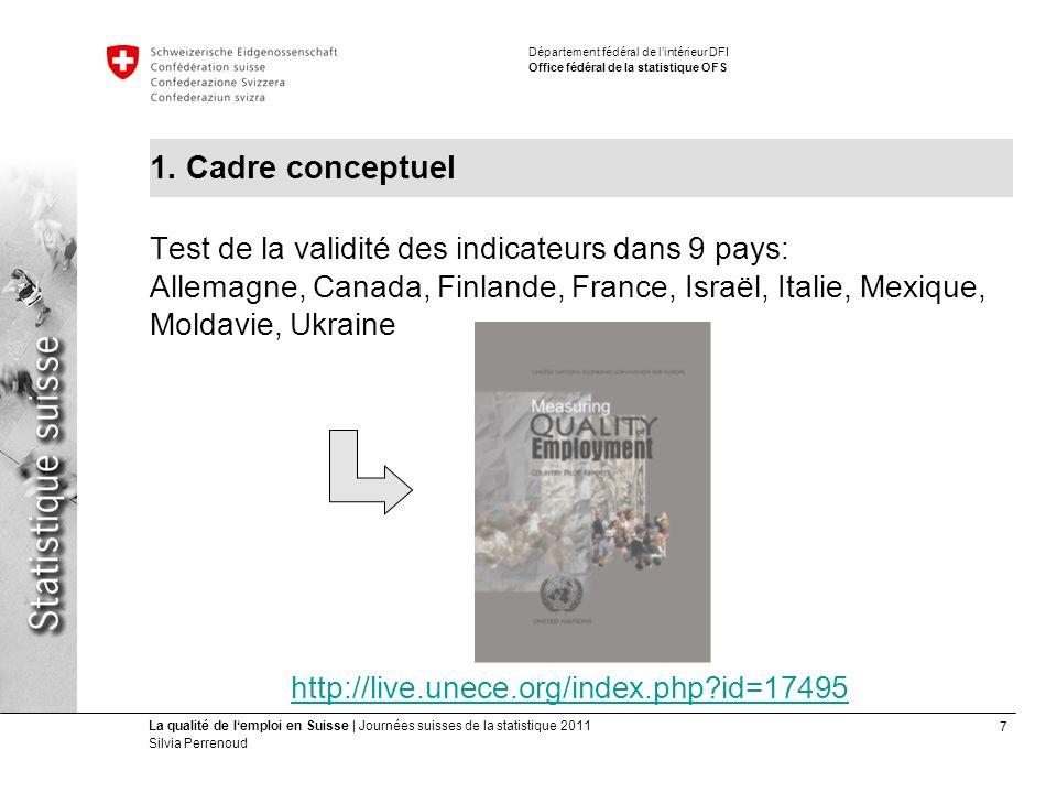 7 La qualité de lemploi en Suisse | Journées suisses de la statistique 2011 Silvia Perrenoud Département fédéral de lintérieur DFI Office fédéral de la statistique OFS 1.