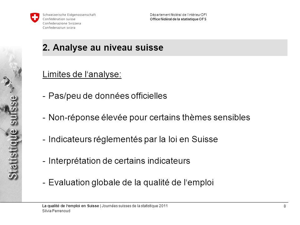 8 La qualité de lemploi en Suisse | Journées suisses de la statistique 2011 Silvia Perrenoud Département fédéral de lintérieur DFI Office fédéral de la statistique OFS 2.