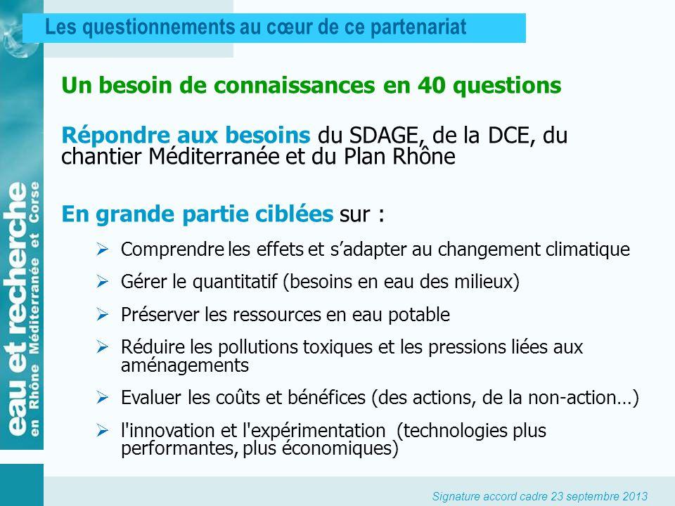 Signature accord cadre 23 septembre 2013 Les questionnements au cœur de ce partenariat Un besoin de connaissances en 40 questions Répondre aux besoins