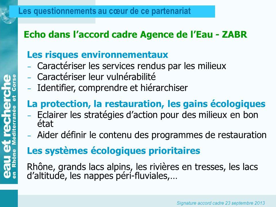 Signature accord cadre 23 septembre 2013 Les questionnements au cœur de ce partenariat Echo dans laccord cadre Agence de lEau - ZABR Les risques envir