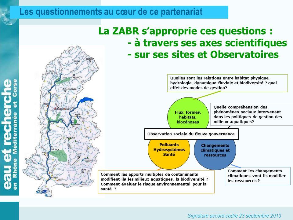 Signature accord cadre 23 septembre 2013 Les questionnements au cœur de ce partenariat La ZABR sapproprie ces questions : - à travers ses axes scienti