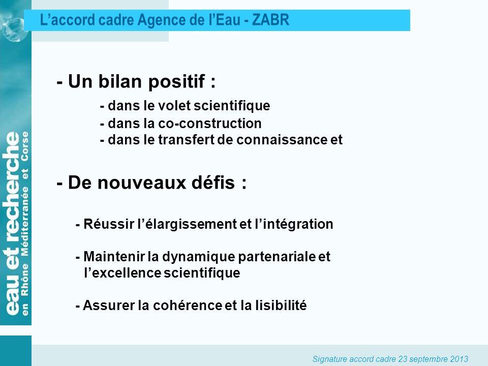 Signature accord cadre 23 septembre 2013 Laccord cadre Agence de lEau - ZABR - Un bilan positif : - dans le volet scientifique - dans la co-constructi