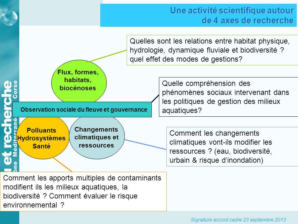 Signature accord cadre 23 septembre 2013 Flux, formes, habitats, biocénoses Quelles sont les relations entre habitat physique, hydrologie, dynamique f