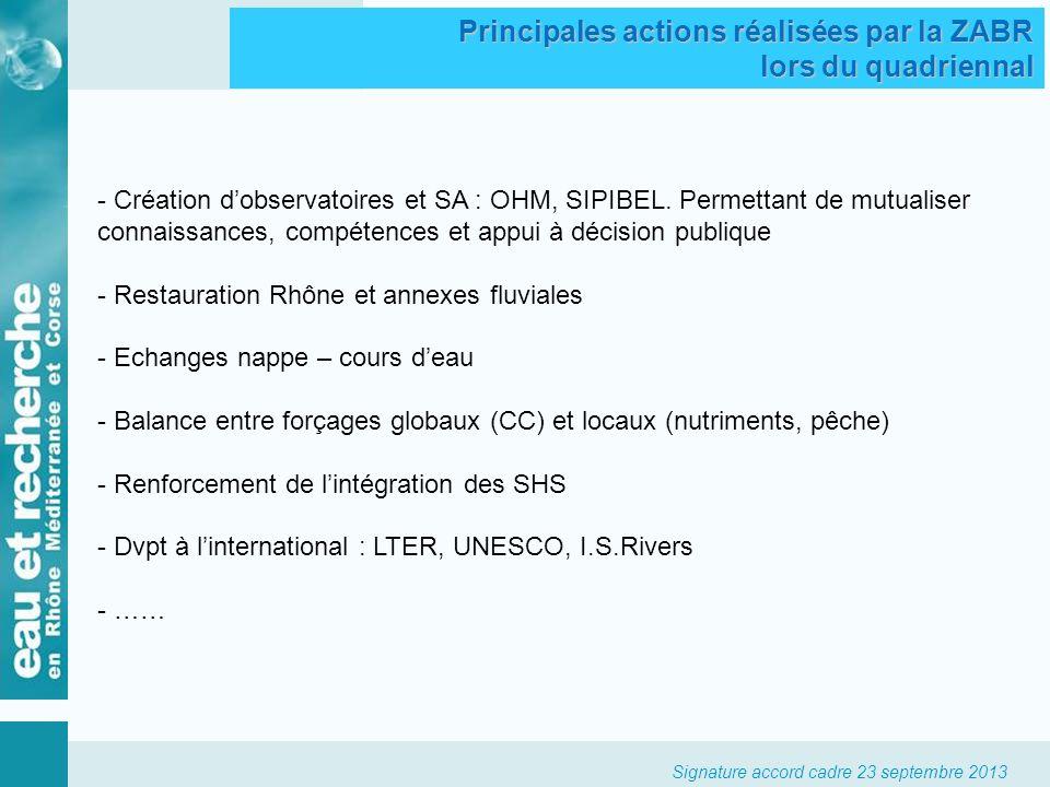 Signature accord cadre 23 septembre 2013 Principales actions réalisées par la ZABR lors du quadriennal - Création dobservatoires et SA : OHM, SIPIBEL.