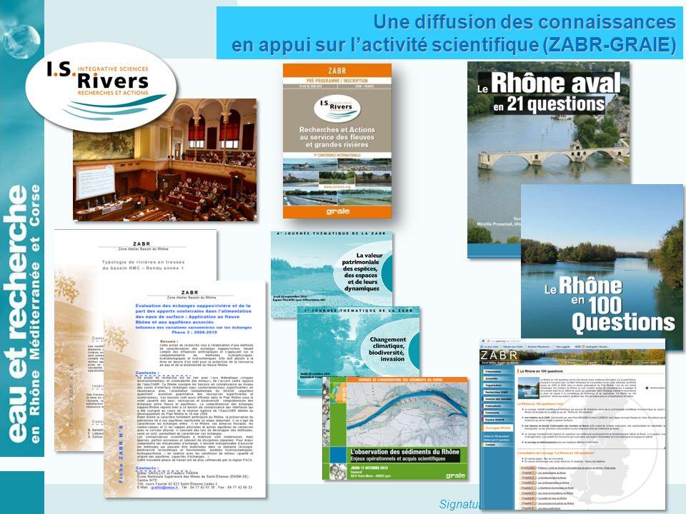 Signature accord cadre 23 septembre 2013 Le GIS ZABR, et son partenariat avec lAgence de lEau RMC Actions de recherche Actions proposées par le conseil de direction de la ZABR et validées par le comité de pilotage Agence de lEau ZABR MO : CNRS Accord cadre Agence de leau ZABR Premier accord cadre (2006 -2009) Second accord cadre (2009 – 2012) Renouvellement accord cadre (2013 -2017) Actions de diffusion de linformation Actions proposées par le conseil de direction de la ZABR et validées par le comité de pilotage Agence de lEau ZABR MO : GRAIE