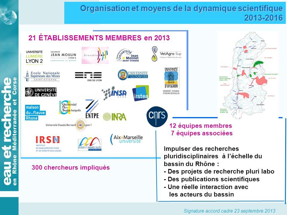 Signature accord cadre 23 septembre 2013 21 ÉTABLISSEMENTS MEMBRES en 2013 12 équipes membres 7 équipes associées Impulser des recherches pluridiscipl