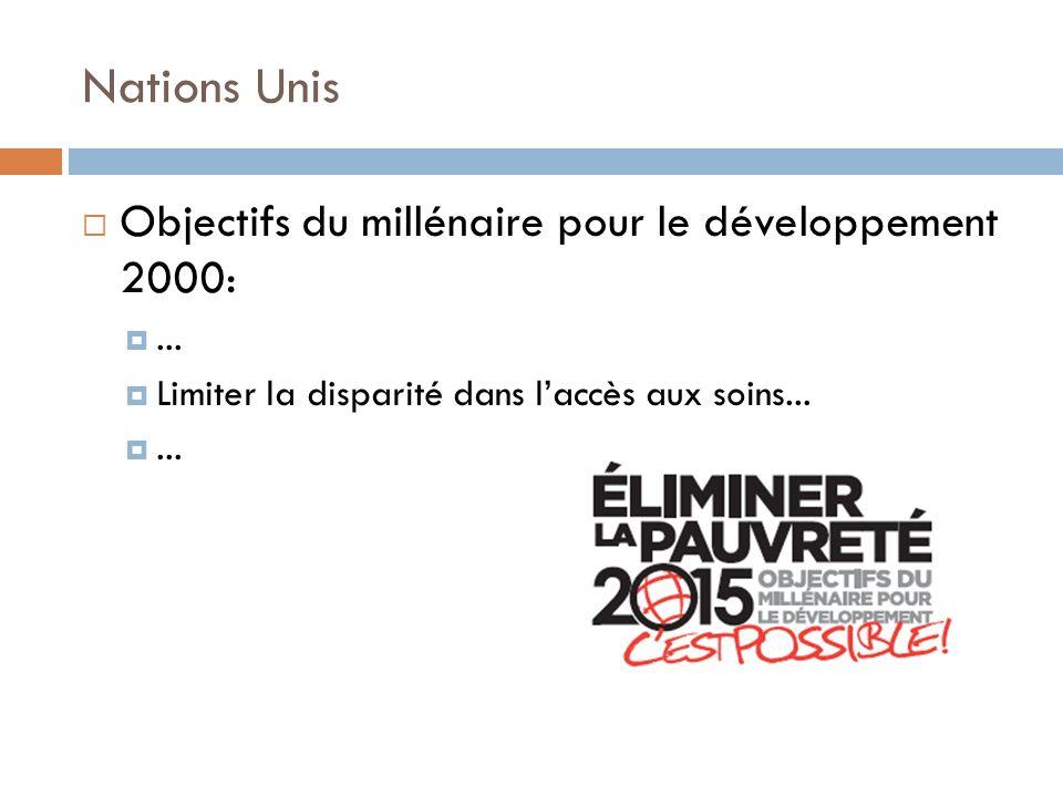 Nations Unis Objectifs du millénaire pour le développement 2000:... Limiter la disparité dans laccès aux soins......