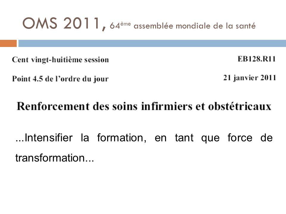 OMS 2011, 64 ème assemblée mondiale de la santé...Intensifier la formation, en tant que force de transformation...