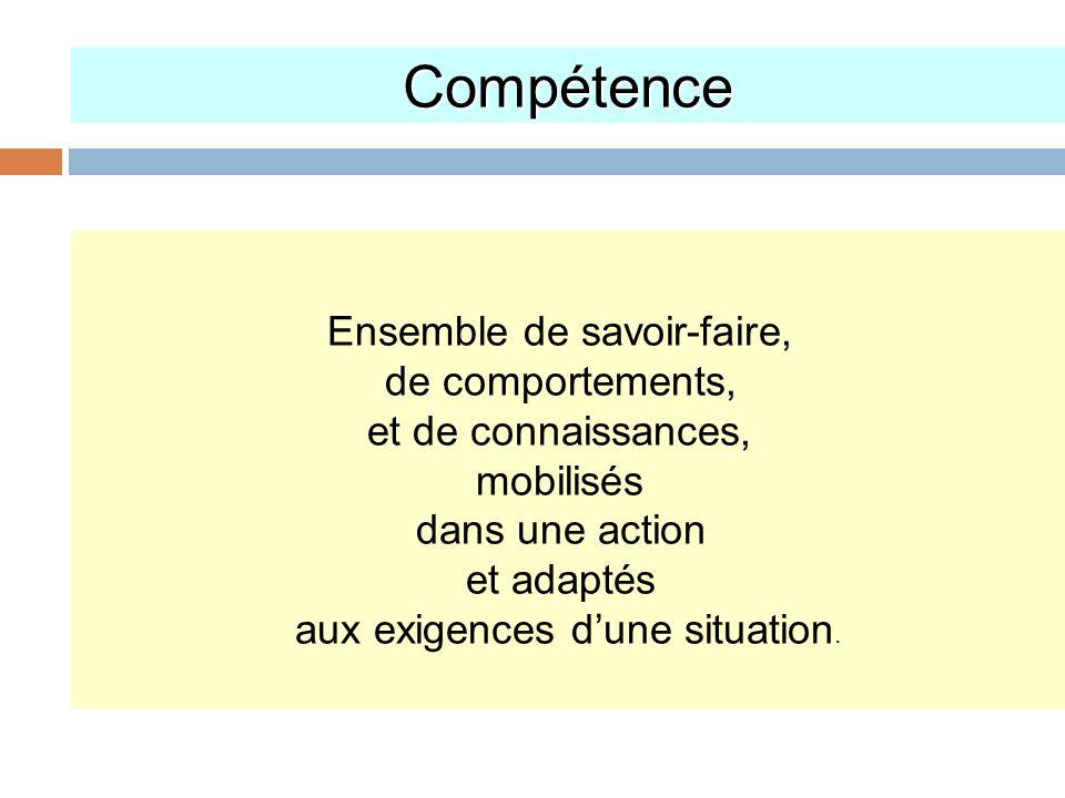 Compétence Ensemble de savoir-faire, de comportements, et de connaissances, mobilisés dans une action et adaptés aux exigences dune situation.