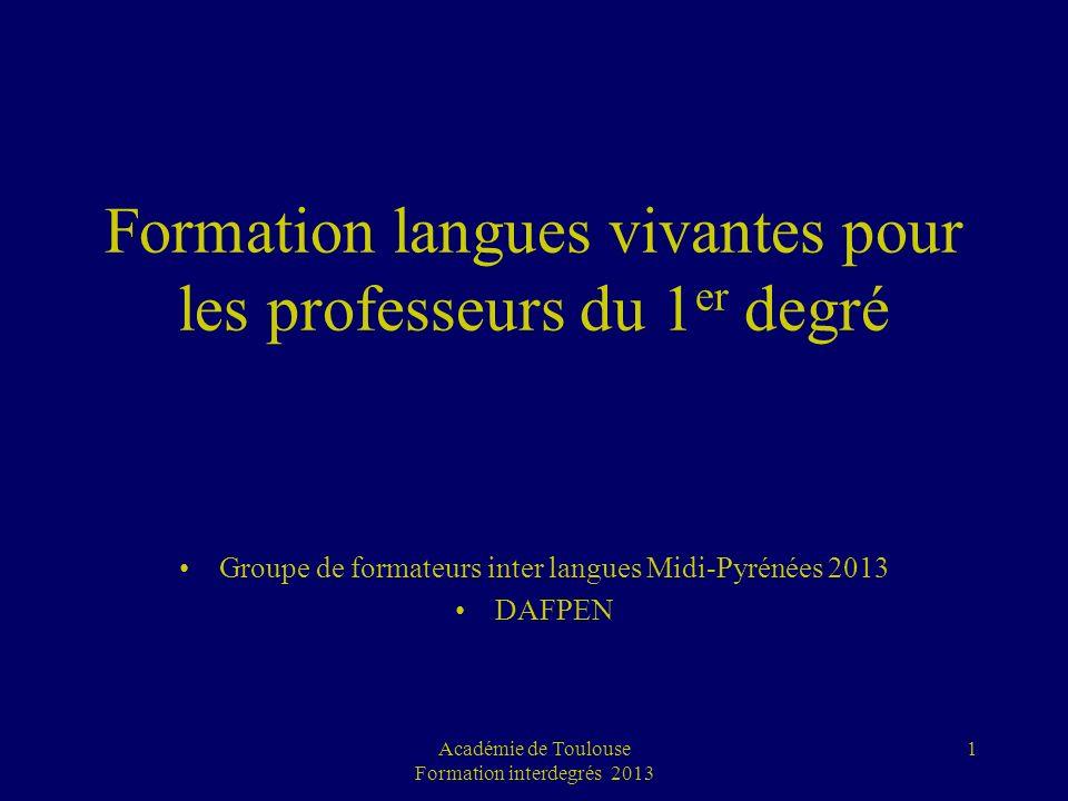 Formation langues vivantes pour les professeurs du 1 er degré Groupe de formateurs inter langues Midi-Pyrénées 2013 DAFPEN Académie de Toulouse Format