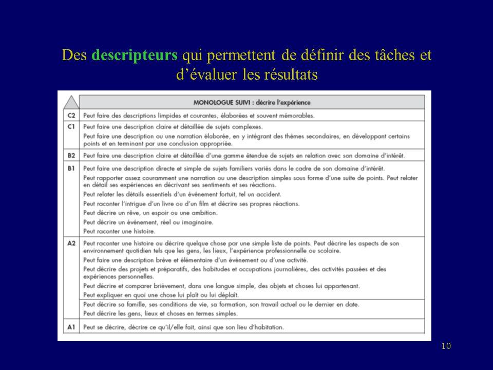 10 Des descripteurs qui permettent de définir des tâches et dévaluer les résultats