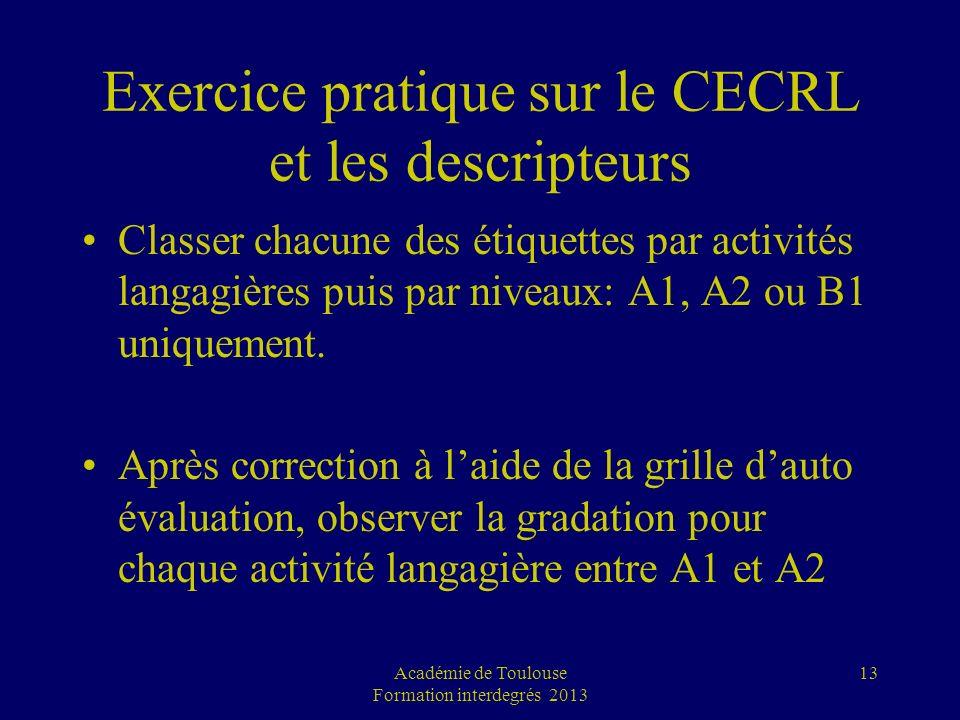 Exercice pratique sur le CECRL et les descripteurs Classer chacune des étiquettes par activités langagières puis par niveaux: A1, A2 ou B1 uniquement.