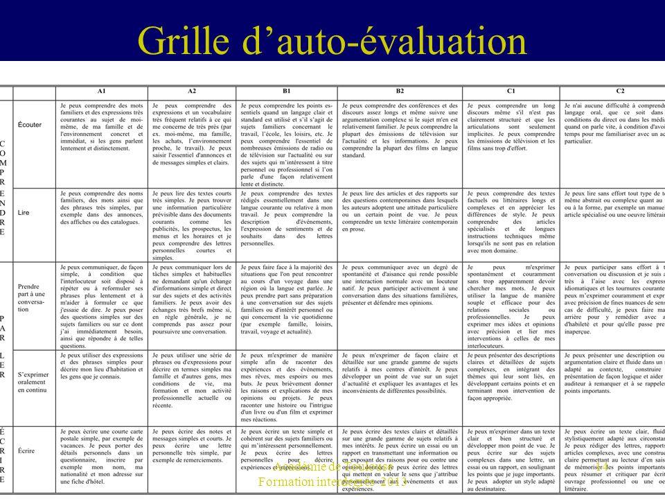 Grille dauto-évaluation Académie de Toulouse Formation interdegrés 2013 14