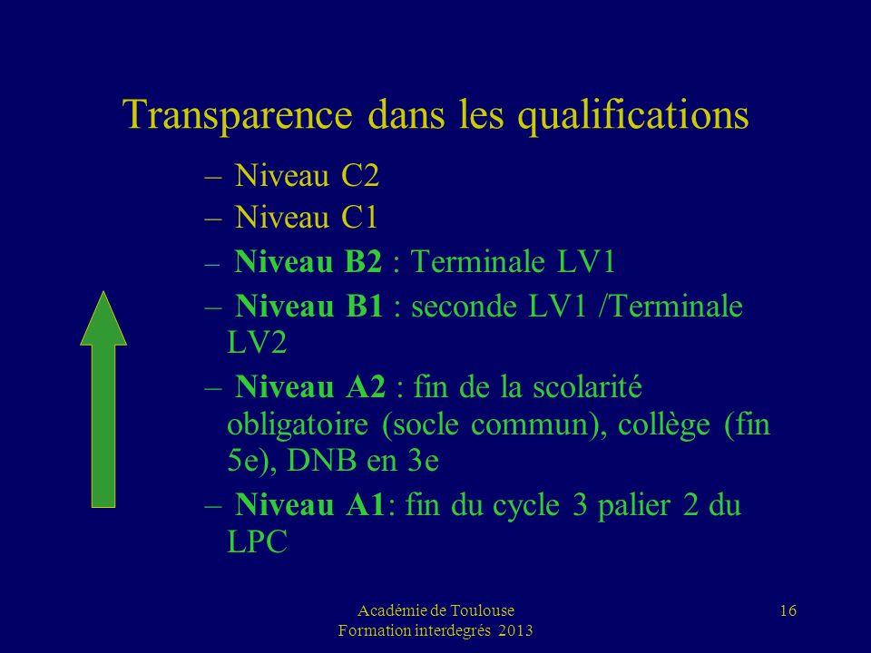 16 Transparence dans les qualifications – Niveau C2 – Niveau C1 – Niveau B2 : Terminale LV1 – Niveau B1 : seconde LV1 /Terminale LV2 – Niveau A2 : fin