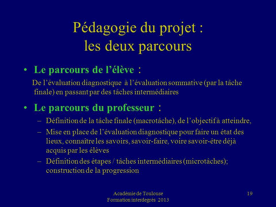 19 Pédagogie du projet : les deux parcours Le parcours de lélève : De lévaluation diagnostique à lévaluation sommative (par la tâche finale) en passan