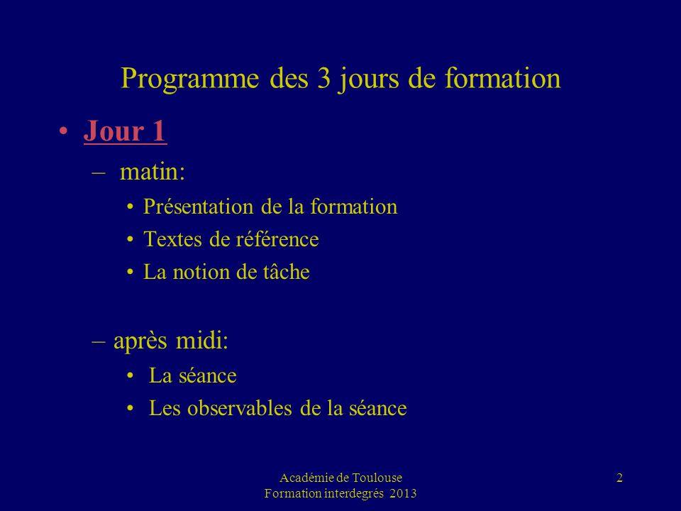 Programme des 3 jours de formation Jour 1 – matin: Présentation de la formation Textes de référence La notion de tâche –après midi: La séance Les obse