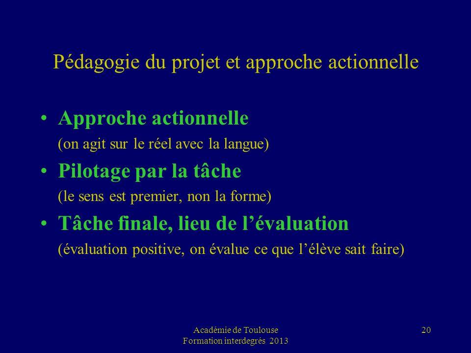 Académie de Toulouse Formation interdegrés 2013 20 Pédagogie du projet et approche actionnelle Approche actionnelle (on agit sur le réel avec la langu