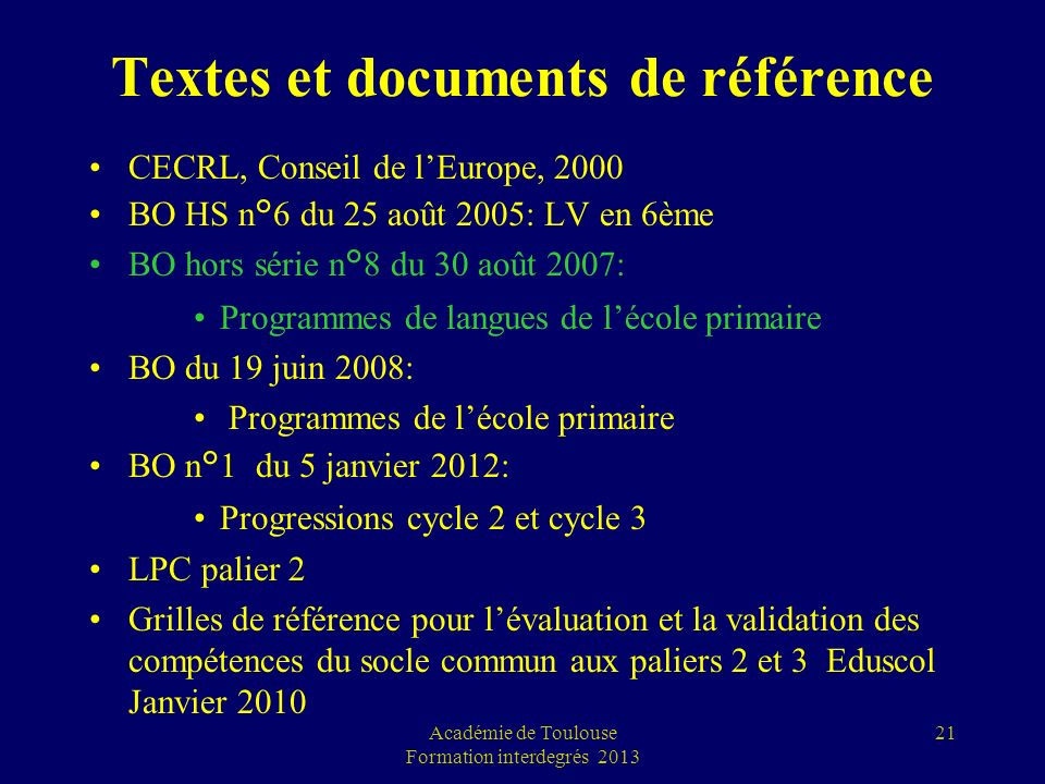 Textes et documents de référence CECRL, Conseil de lEurope, 2000 BO HS n°6 du 25 août 2005: LV en 6ème BO hors série n°8 du 30 août 2007: Programmes d