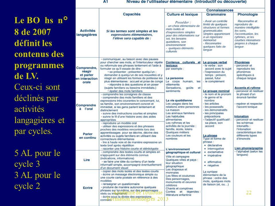 Académie de Toulouse Formation interdegrés 2013 22 Le BO hs n° 8 de 2007 définit les contenus des programmes de LV. Ceux-ci sont déclinés par activité