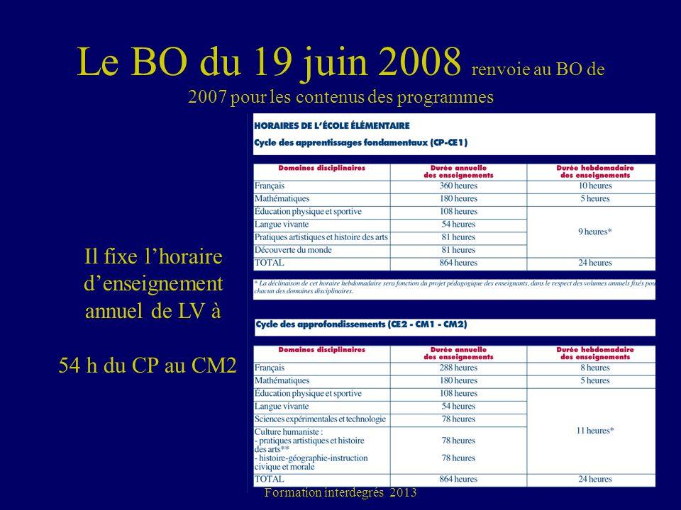 Le BO du 19 juin 2008 renvoie au BO de 2007 pour les contenus des programmes Académie de Toulouse Formation interdegrés 2013 24 Il fixe lhoraire dense