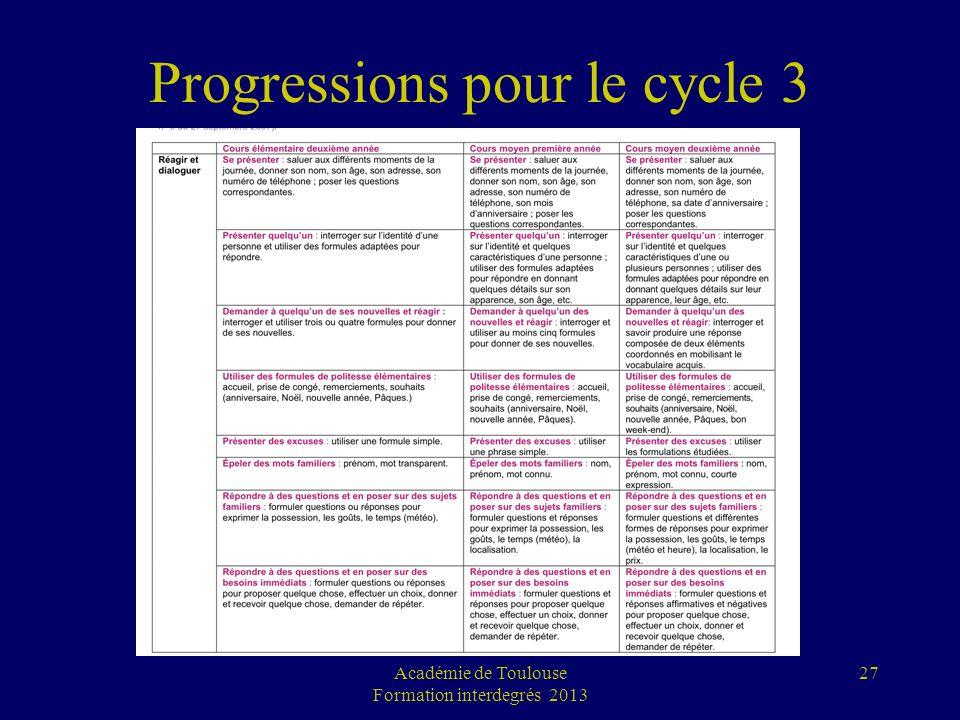 Progressions pour le cycle 3 Académie de Toulouse Formation interdegrés 2013 27