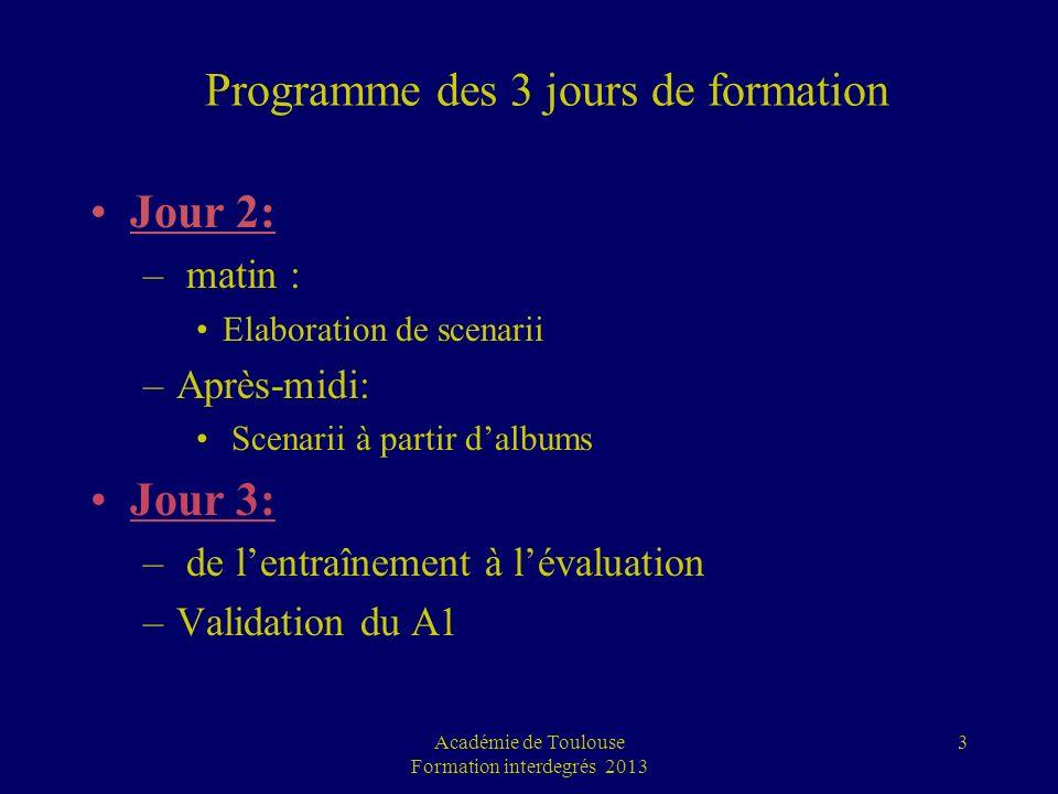 Programme des 3 jours de formation Jour 2: – matin : Elaboration de scenarii –Après-midi: Scenarii à partir dalbums Jour 3: – de lentraînement à léval