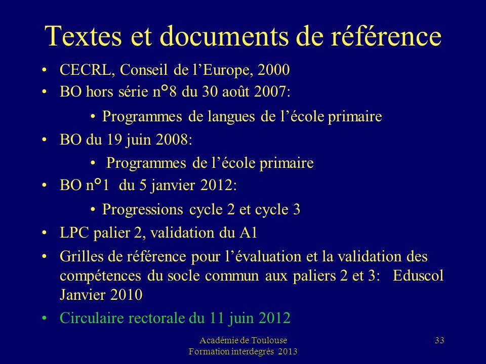 Textes et documents de référence CECRL, Conseil de lEurope, 2000 BO hors série n°8 du 30 août 2007: Programmes de langues de lécole primaire BO du 19