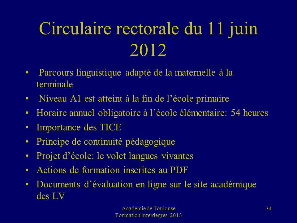 Circulaire rectorale du 11 juin 2012 Parcours linguistique adapté de la maternelle à la terminale Niveau A1 est atteint à la fin de lécole primaire Ho