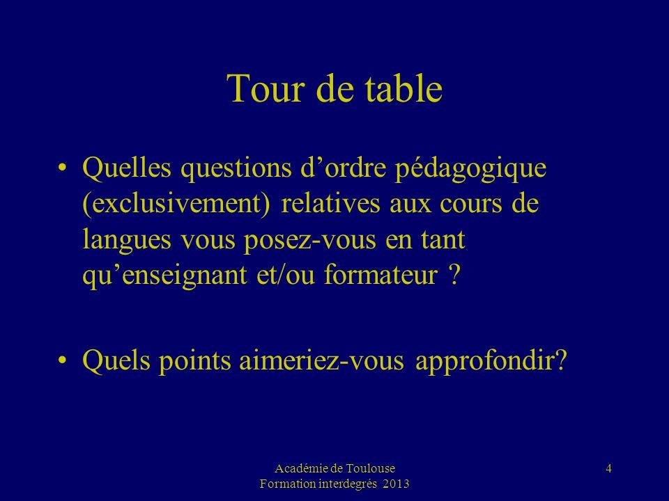 Tour de table Quelles questions dordre pédagogique (exclusivement) relatives aux cours de langues vous posez-vous en tant quenseignant et/ou formateur