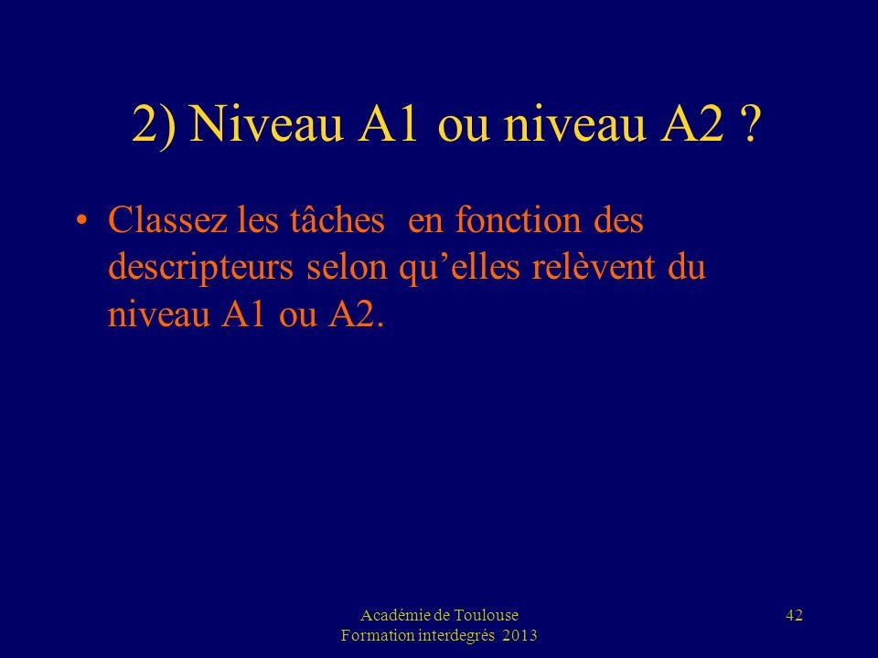 2) Niveau A1 ou niveau A2 ? Classez les tâches en fonction des descripteurs selon quelles relèvent du niveau A1 ou A2. Académie de Toulouse Formation