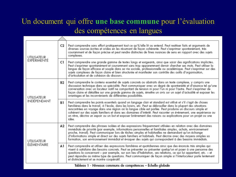 8 Un document qui offre une base commune pour lévaluation des compétences en langues