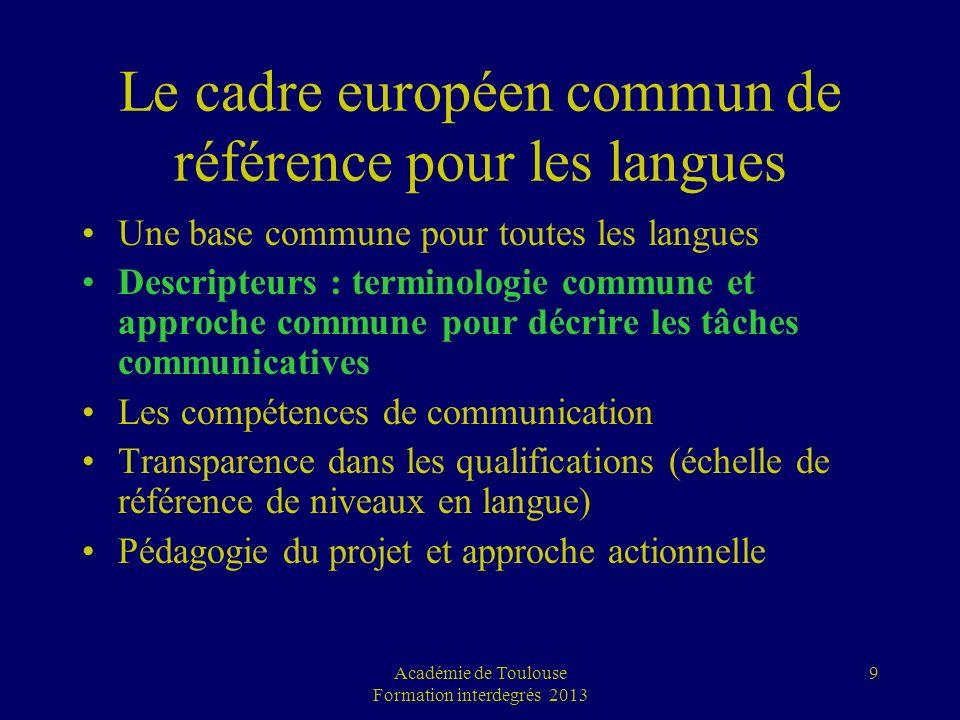 Académie de Toulouse Formation interdegrés 2013 9 Le cadre européen commun de référence pour les langues Une base commune pour toutes les langues Desc