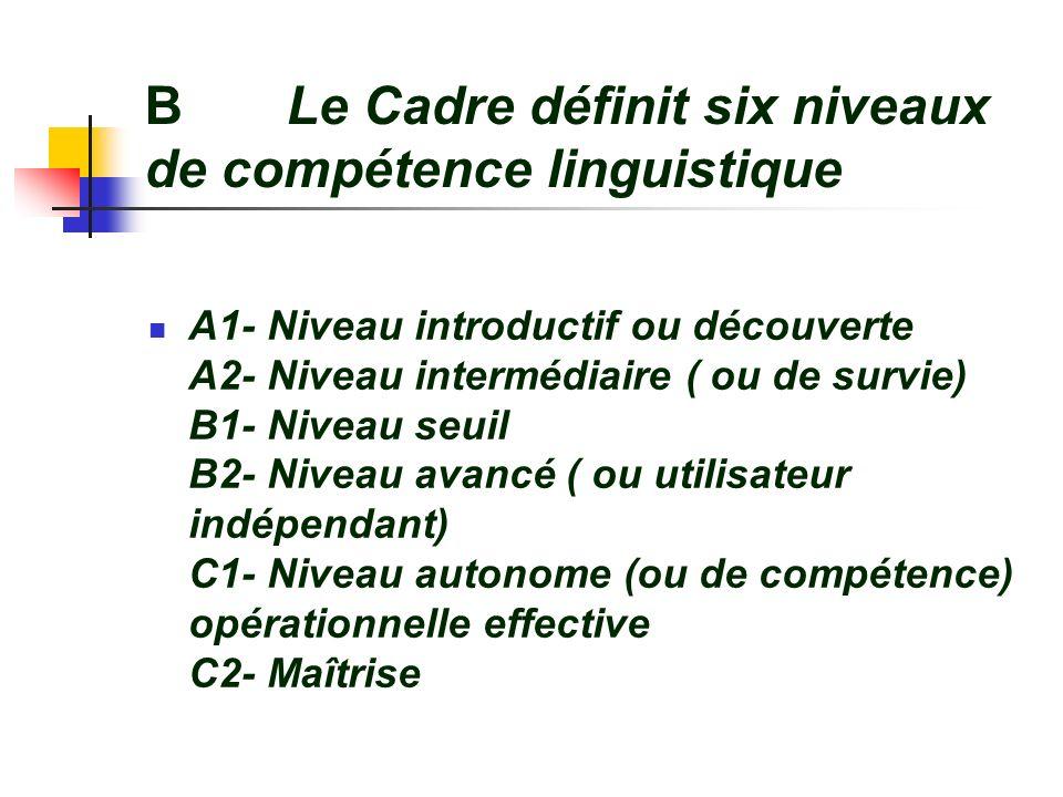 B Le Cadre définit six niveaux de compétence linguistique A1- Niveau introductif ou découverte A2- Niveau intermédiaire ( ou de survie) B1- Niveau seu