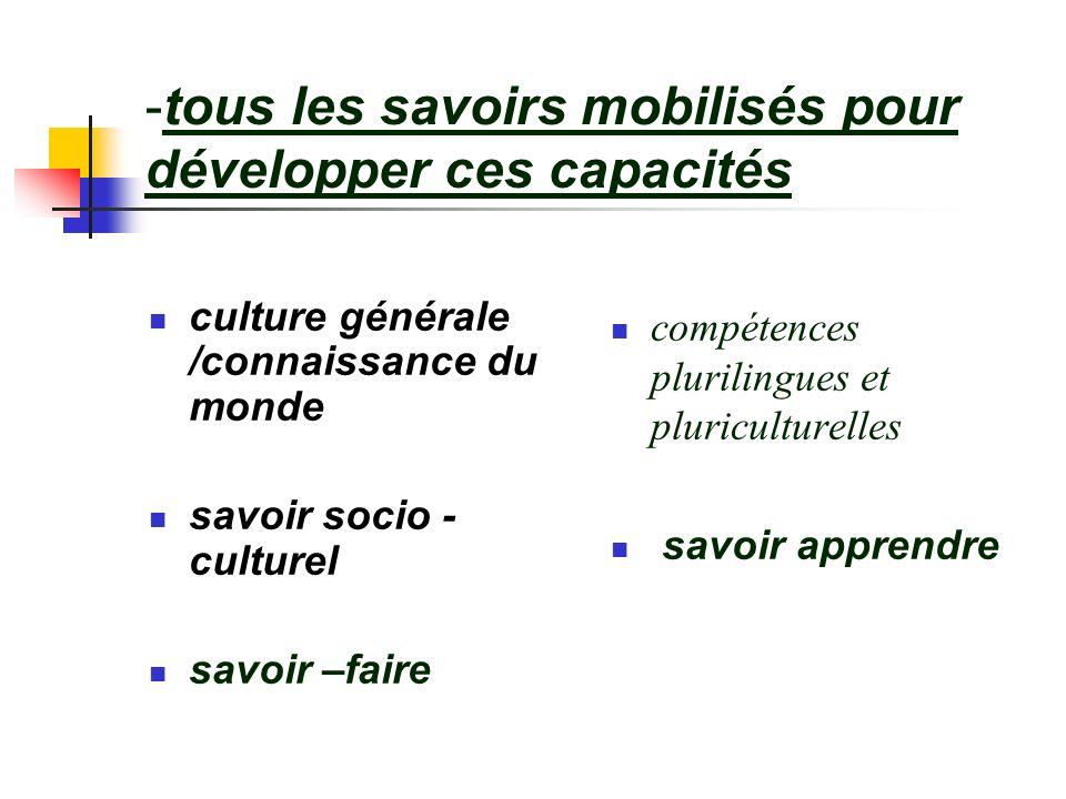 -tous les savoirs mobilisés pour développer ces capacités culture générale /connaissance du monde savoir socio - culturel savoir –faire compétences pl