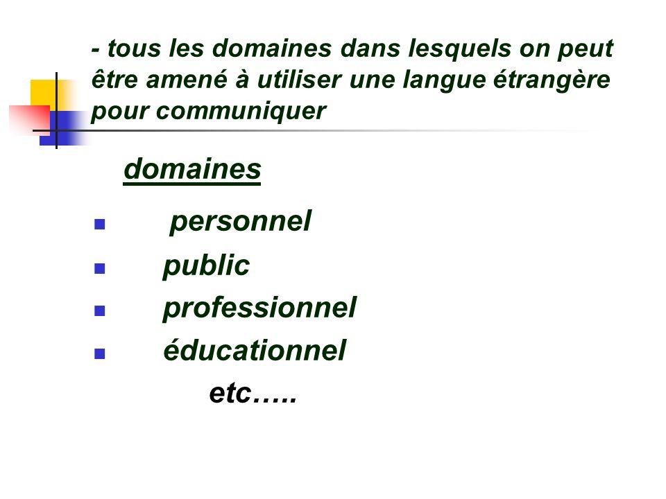 - tous les domaines dans lesquels on peut être amené à utiliser une langue étrangère pour communiquer domaines personnel public professionnel éducatio