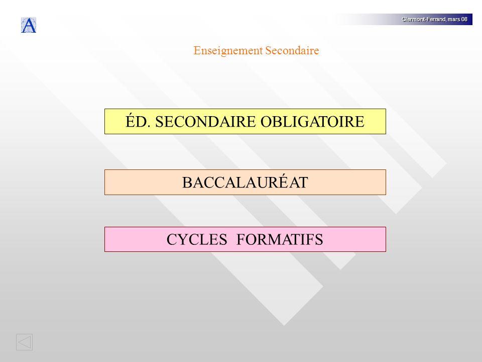 Premier Deuxième Troisième Quatrième PDC 1 PDC 2 PACG PASEPASE Graduado en ESO (Diplôme ESO) BaccalauréatCycles Formatifs Clermont-Ferrand, mars 08 Éducation Secondaire Obligatoire PQPI