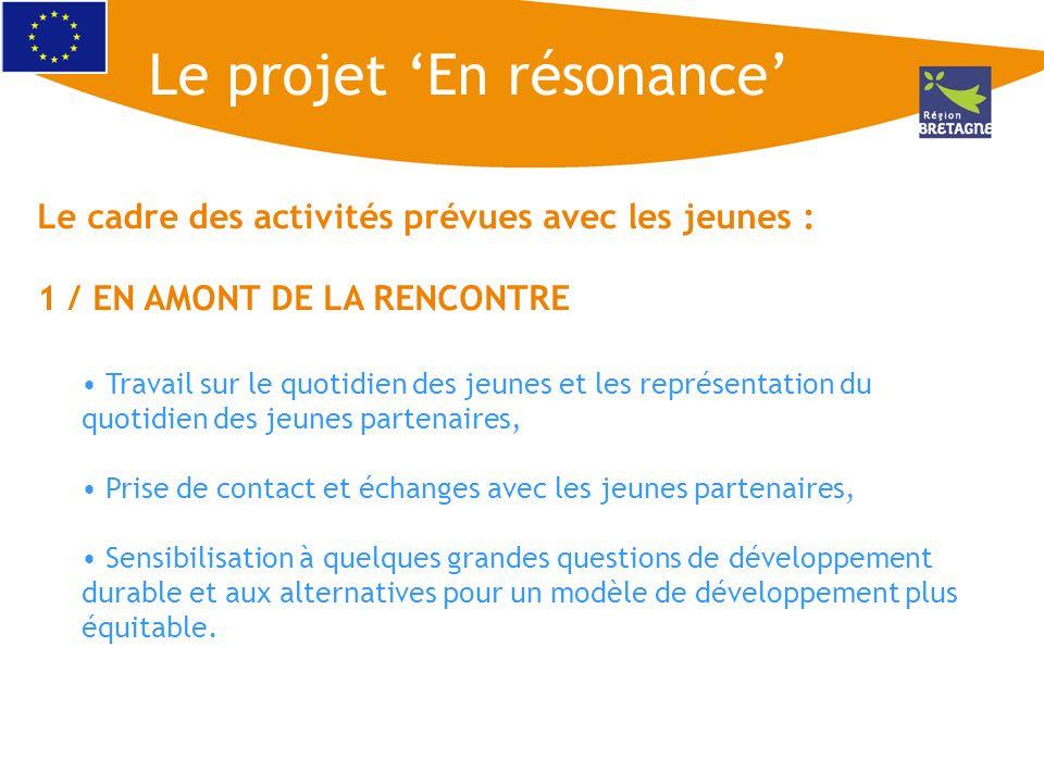 Le cadre des activités prévues avec les jeunes : 1 / EN AMONT DE LA RENCONTRE Travail sur le quotidien des jeunes et les représentation du quotidien d