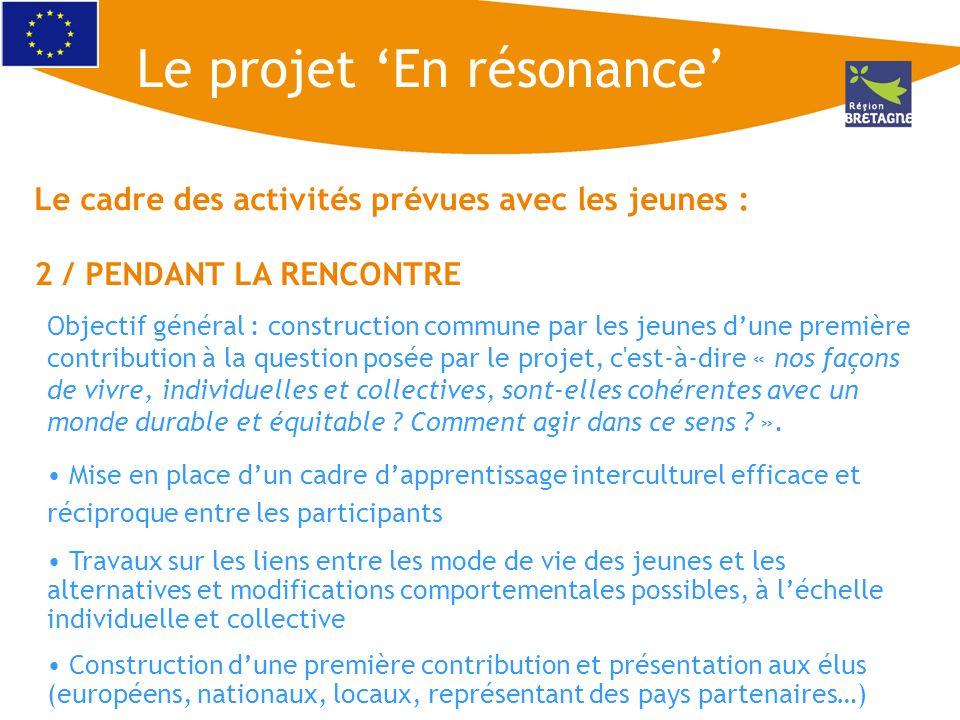 Le cadre des activités prévues avec les jeunes : 2 / PENDANT LA RENCONTRE Objectif général : construction commune par les jeunes dune première contrib