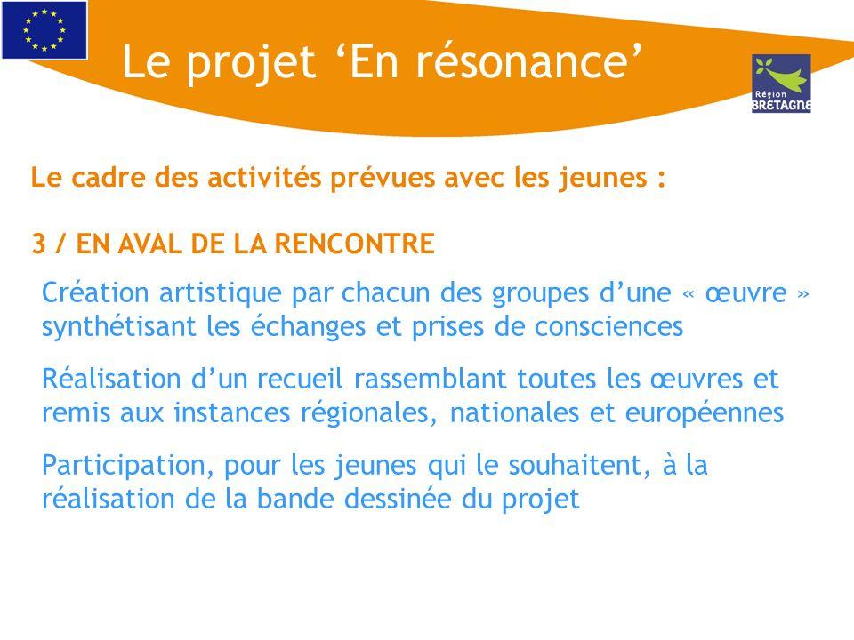 Le cadre des activités prévues avec les jeunes : 3 / EN AVAL DE LA RENCONTRE Création artistique par chacun des groupes dune « œuvre » synthétisant le