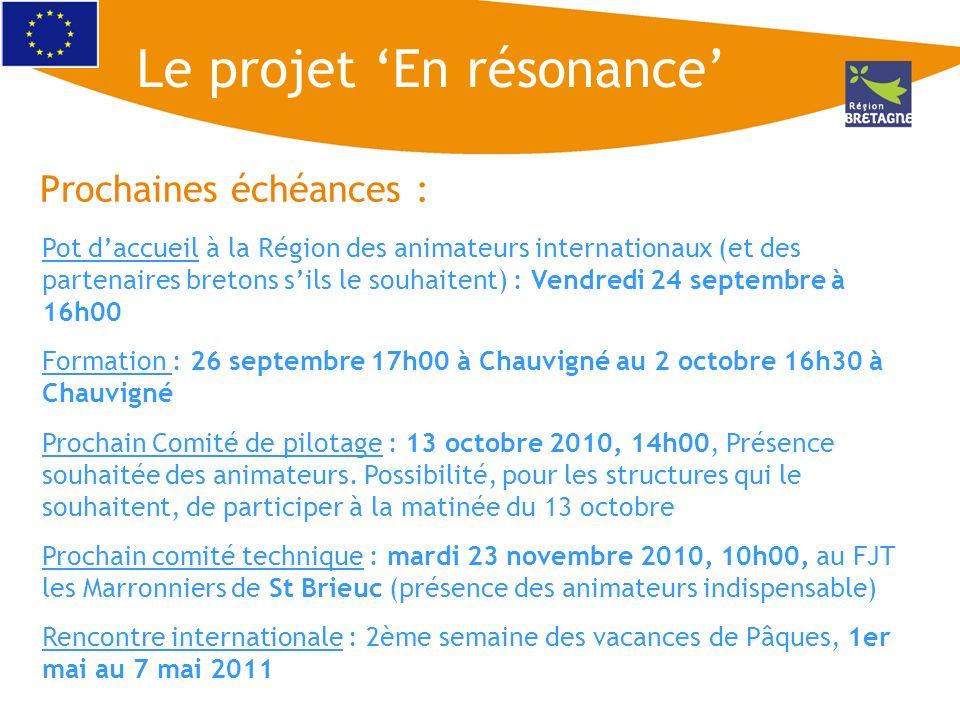 Prochaines échéances : Le projet En résonance Pot daccueil à la Région des animateurs internationaux (et des partenaires bretons sils le souhaitent) :