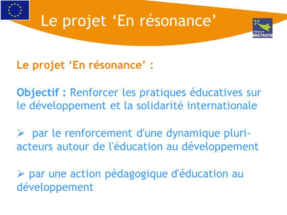 Le projet En résonance : Objectif : Renforcer les pratiques éducatives sur le développement et la solidarité internationale par le renforcement d'une