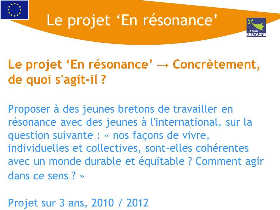 Le projet En résonance Concrètement, de quoi s'agit-il ? Proposer à des jeunes bretons de travailler en résonance avec des jeunes à l'international, s
