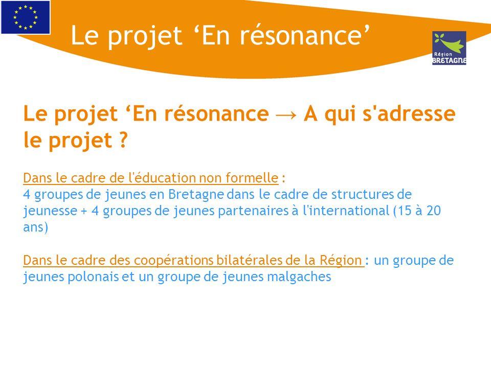 Le projet En résonance A qui s'adresse le projet ? Dans le cadre de l'éducation non formelle : 4 groupes de jeunes en Bretagne dans le cadre de struct